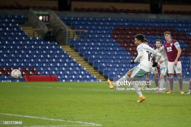 Junior Stanislas of Bournemouth scores a goal to make it 2-0 from the spot during The Emirates FA Cup Fifth Round match between Burnley and AFC...