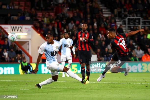 Junior Stanislas of Bournemouth scores the opening goal during the Carabao Cup Third Round match between AFC Bournemouth and Blackburn Rovers at...