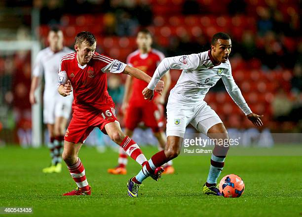 Junior Stanislas of Burnley evades James WardProwse of Southampton during the FA Cup with Budweiser Third round match between Southampton and Burnley...