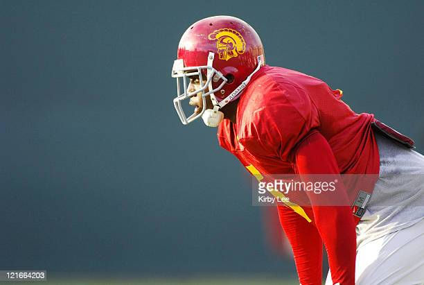 USC junior tailback Reggie Bush the 2005 Heisman Trophy winner participates in practice at Howard Jones Fields on the campus of the University of...