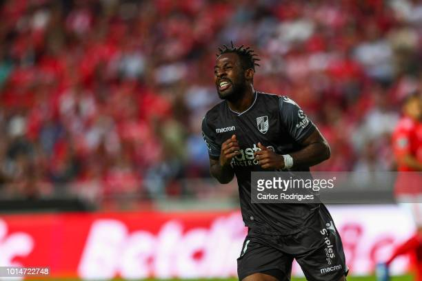 Junior Tallo of Vitoria SC reacts during the Liga NOS match between SL Benfica and Vitoria SC at Estadio da Luz on August 10 2018 in Lisbon Portugal