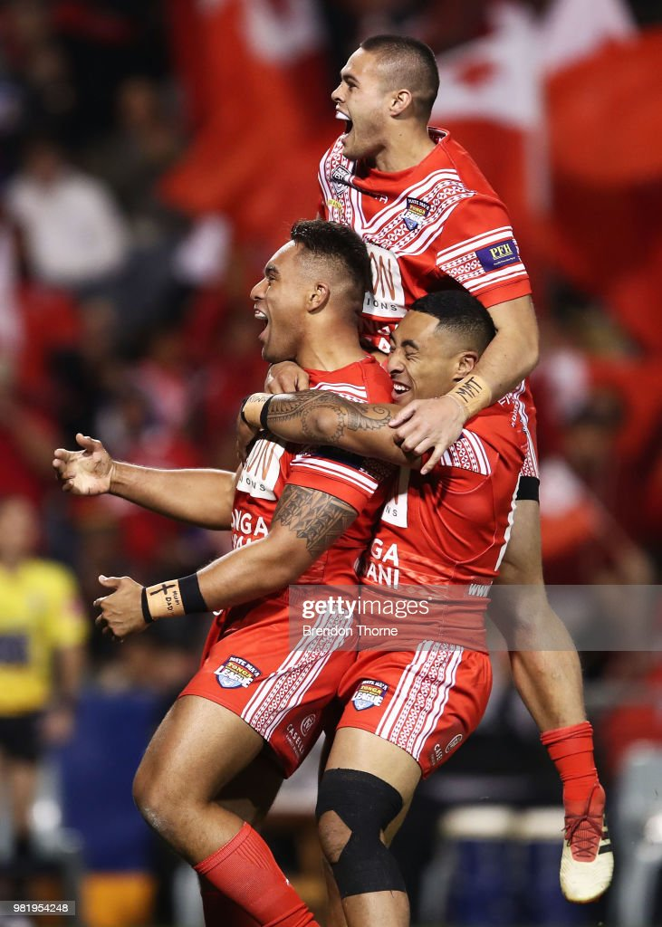 Junior Tatola of Tonga celebrates with team mates after scoring a try during the 2018 Pacific Test Invitational match between Tonga and Samoa at Campbelltown Sports Stadium on June 23, 2018 in Sydney, Australia.