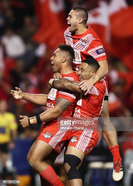 Junior Tatola of Tonga celebrates with team mates after scoring a try during the 2018 Pacific Test Invitational match between Tonga and Samoa at...