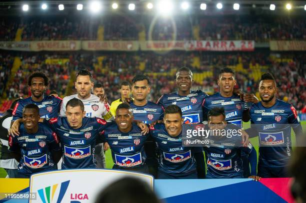 Junior team of Barranquilla poses for the photo before the game against Independiente Santa Fe during BetPlay League match between Independiente...