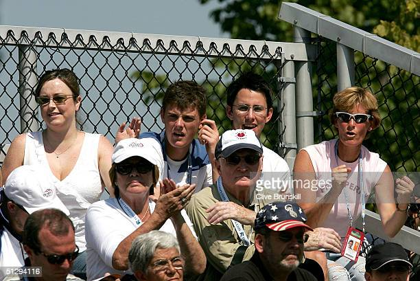 Junior tennis player, Jamie Murray of Great Britain and his family cheers on brother Andrew Murray of Great Britain as he plays in the junior final...