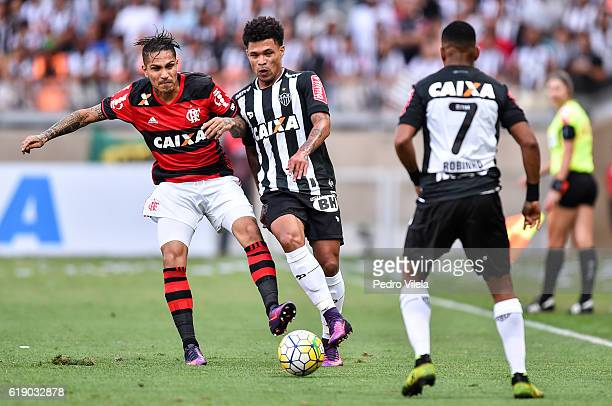 Junior Urso of Atletico MG and Guerrero of Flamengo battle for the ball during a match between Atletico MG and Flamengo as part of Brasileirao Series...