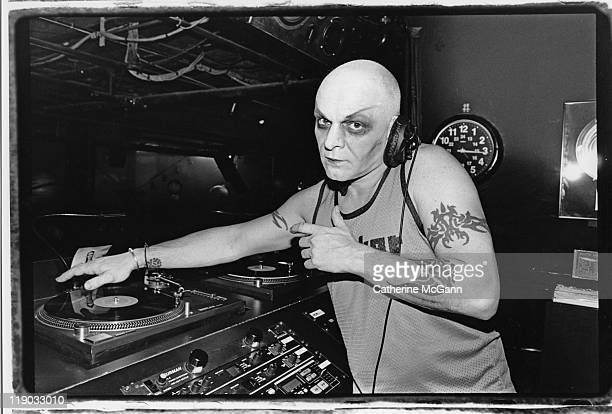 Junior Vasquez poses for a portrait in the DJ booth at club Twilo on Halloween October 31 1998 in New York City New York