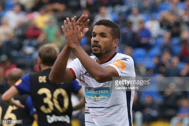 Junior Walter Messias of FC Crotone reacts during the Serie B match between Pisa SC and FC Crotone at Arena Garibaldi on October 20, 2019 in Pisa,...