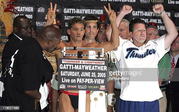 WBC Junior Welterweight Champion Arturo Gatti weighs in for his upcoming fight with Floyd Mayweather The two will meet on Saturday June 25 2005 at...