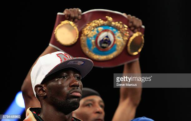 WBO junior welterweight champion Terence Crawford waits for the start of his unification fight against WBC champion Viktor Postol of Ukraine at MGM...