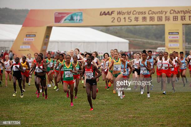 Junior women athletes start their Junior Race Women at the IAAF World Cross Country Championship on March 28 2015 in Guiyang China