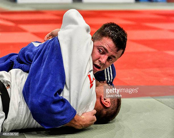 Junior World medallist Benjamin Fletcher of Great Britain defeated Ruslan Rancev also of Great Britain by an ippon from a hold to win the u100kg...
