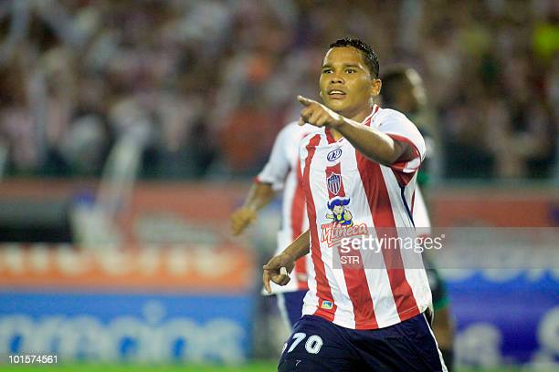 Junior's Carlos Bacca celebrates after scoring against La Equidad during the Colombian Soccer League final match in Barranquilla on June 02 2010...