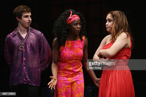 Juniors Grace Duah Scott Burrows and an unidentified member of Spartan Theatre Company at West Springfield High in Springfield Virginia perform for...