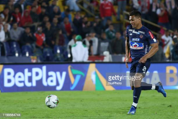 Junior's Teo Gutierrez controls the ball during BetPlay League match between Independiente Santa Fe and Junior on February 8 2020 at the Estadio...