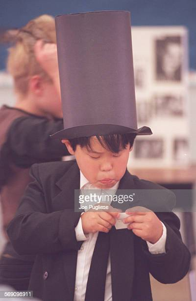 Junipero Serra School third–grader Kevin Hwang dressed as Abraham Lincoln for Cathy Donahue's third grade class' project called Wax Museum