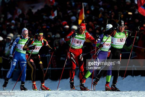 Junji Nagai of Japan leads the pack during the Men's 4 x 7,5km Relay in the e.on Ruhrgas IBU Biathlon World Cup on January 7, 2010 in Oberhof,...
