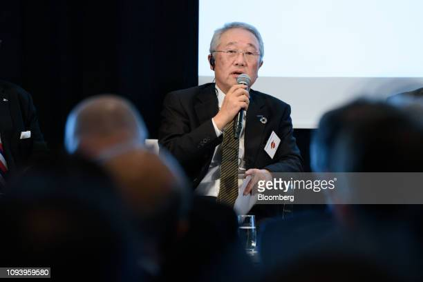Junji Tsuda chairman of Yaskawa Electric Corp speaks during the GermanJapanese Dialogue Forum in Tokyo Japan on Tuesday Feb 5 2019 Angela Merkel...