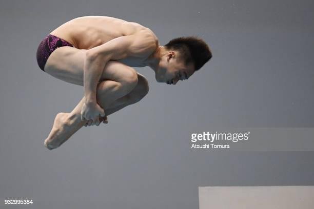 Junjie Lian of China competes in the Men's 10m Platform final during day three of the FINA Diving World Series Fuji at Shizuoka Prefectural Fuji...