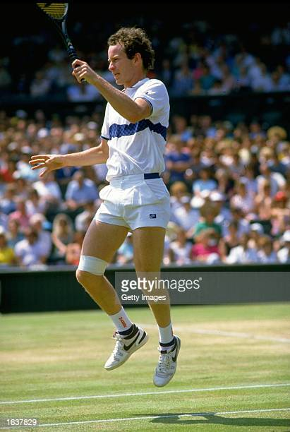 John McEnroe of the USA in action during the Lawn Tennis Championships at Wimbledon in London Mandatory Credit Allsport UK /Allsport