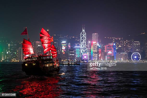Junk Boat in Victoria Harbour at night,hong kong