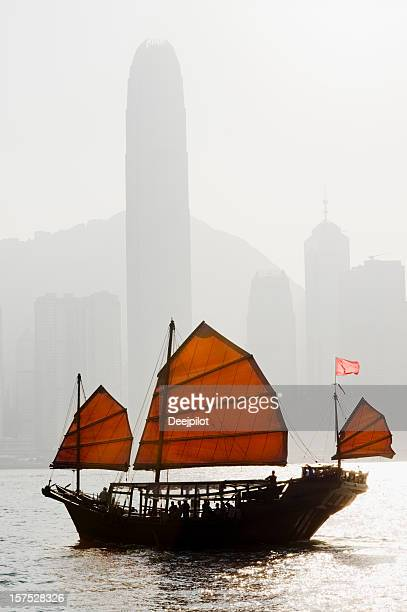 Junk Boat in Victoria Harbour Hong Kong