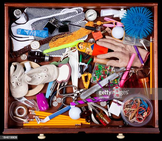 Junk Drawer with many miscellaneous objects