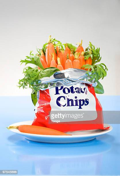 Junk food bag of baby carrots on plate