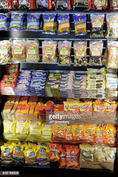 A junk food display in a shop at Miami International Airport