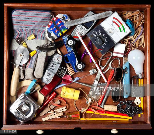 junk in a drawer - obsolete stock pictures, royalty-free photos & images