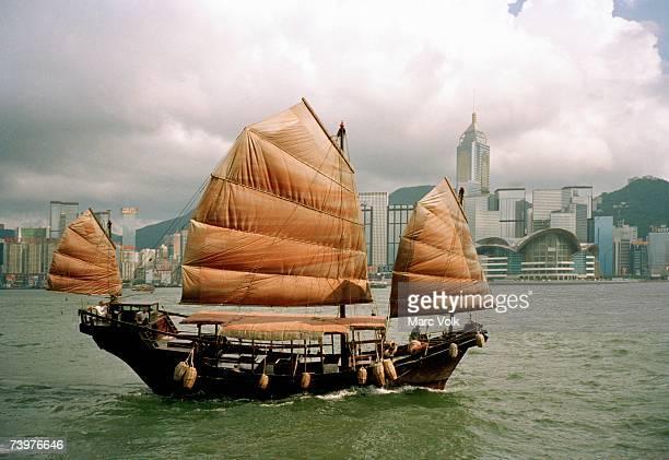 Junk ship in Victoria Harbor, Hong Kong, China