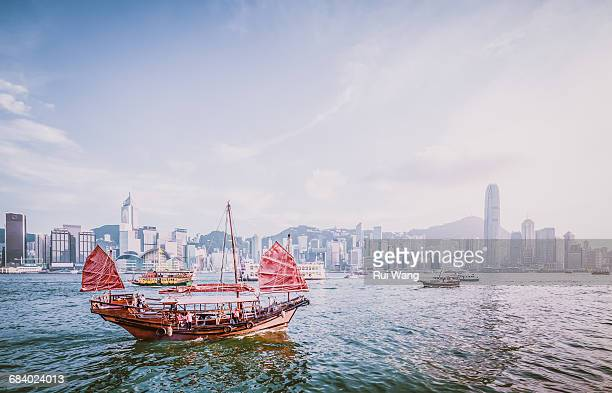 Junk ship in Victoria Harbour
