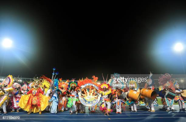 Junkanoo dancers perform after the IAAF/BTC World Relays Bahamas 2017 at Thomas Robinson Stadium on April 23 2017 in Nassau Bahamas