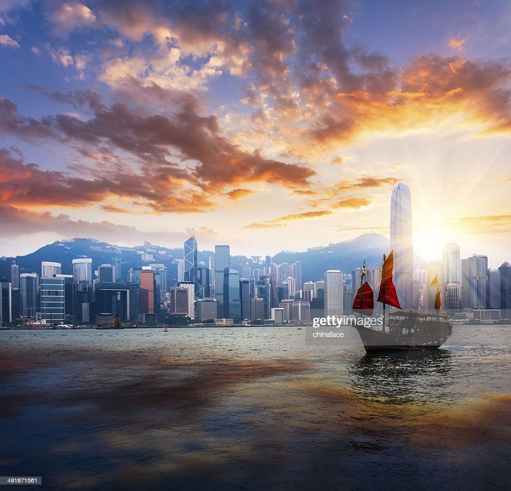 Junkboat di hong kong : Foto stock
