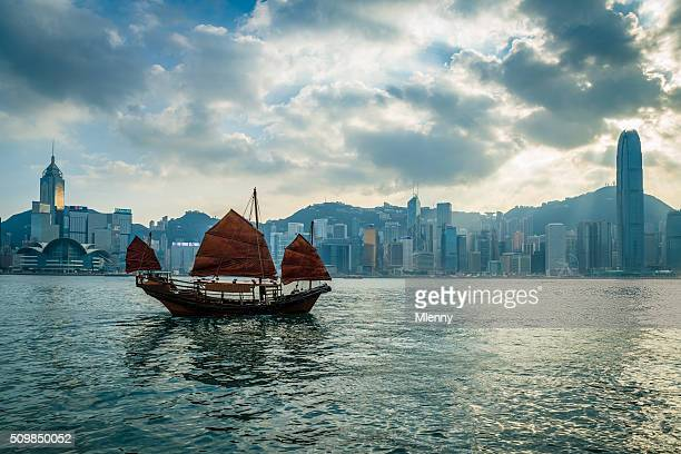 HK Junkboat vela ao longo do Linha do horizonte de Hong Kong