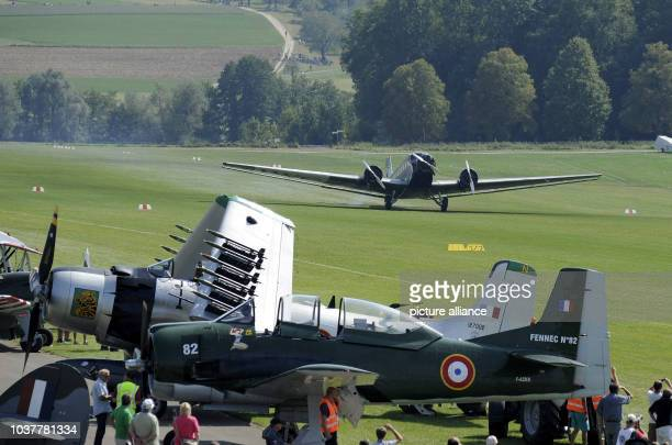 A Junkers Ju 52 starts during the Oldtimer aviator meeting Hahnweide 2013 in Kirchheim Germany 07 September 2013 The threeday event running from 06...