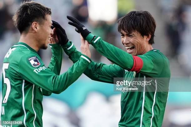 Junki Koike of Tokyo Verdy celebrates scoring his side's second goal during the J.League Meiji Yasuda J2 match between Tokyo Verdy and Ehime FC at...