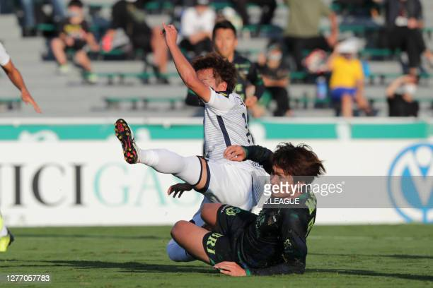 Junki KOIKE of Tokyo Verdy scores his side's first goal during the J.League Meiji Yasuda J2 match between Tokyo Verdy and Giravanz Kitakyushu at...
