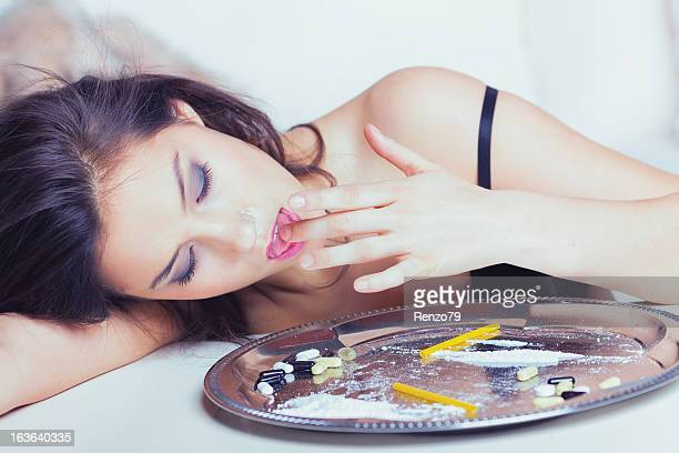 Junkie woman on high