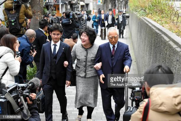 Junko Kagoike wife of Yasunori Kagoike former head of scandalhit school operator Moritomo Gakuen enters the Osaka District Court on March 06 2019 in...