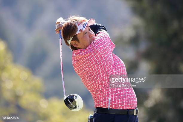Junko Omote of Japan plays a tee shot on the fifth hole in the first round during the T-Point Ladies Golf Tournament at the Wakagi Golf Club on March...