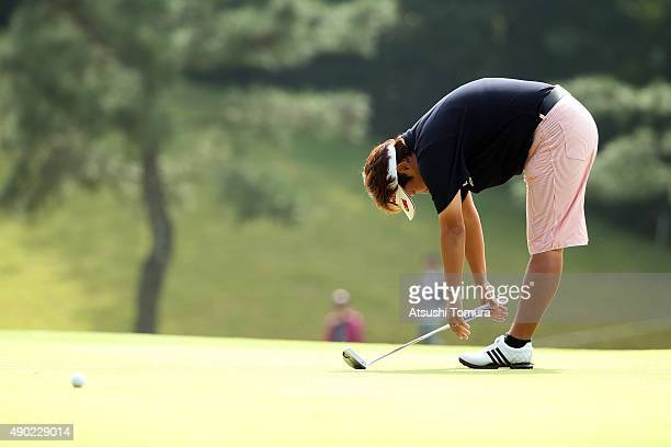 Junko Omote of Japan shows her disapointment after missing her birdie putt on the 3rd green during the final round of the Miyagi TV Cup Dunlop Ladies...