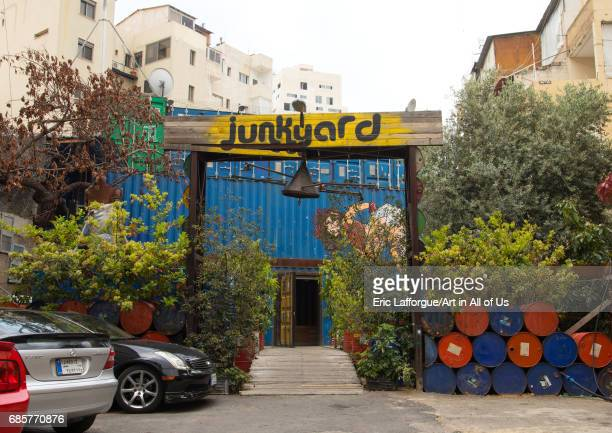 Junkyard cafe in Mar Mikhael made with containers and barrels Beirut Governorate Beirut Lebanon on May 5 2017 in Beirut Lebanon