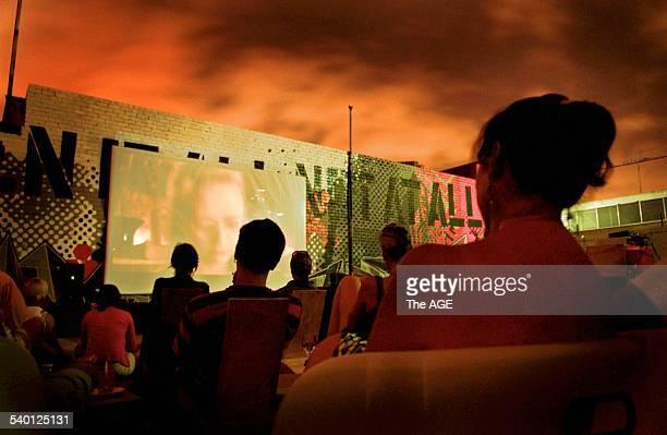 Junkyard Cinema Rose Street artists screening of Delicatessen in their junkyard cinema THE AGE Picute by JUSTIN MCMANUS