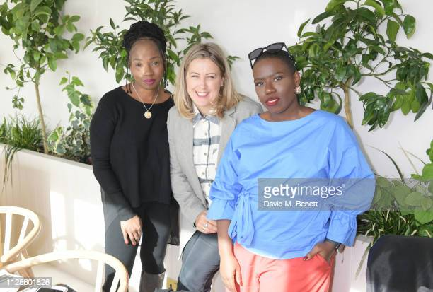 Junnie Grant Clemmie Telford and Candice Brathwaite attend the mothers2mothers Wonder Women Tea at Bourne Hollingsworth's Garden Room on March 4 2019...