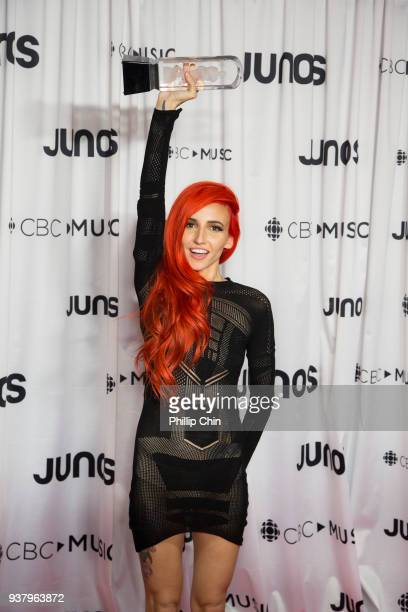 Juno Awards winner Lights attends the press conference room at the 2018 Juno Awards at Rogers Arena on March 25 2018 in Vancouver Canada