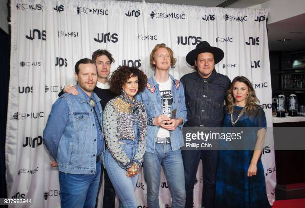 Juno Awards winners Tim Kingsbury Jeremy Gara Regine Chassagne Richard Reed Parry and Win Butler of Arcade Fire attend the press conference room at...