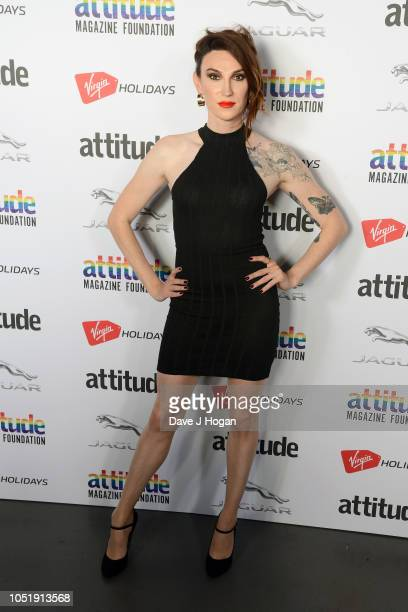 Juno Dawson poses in the winner's room at The Virgin Holidays Attitude Awards at The Roundhouse on October 11 2018 in London England