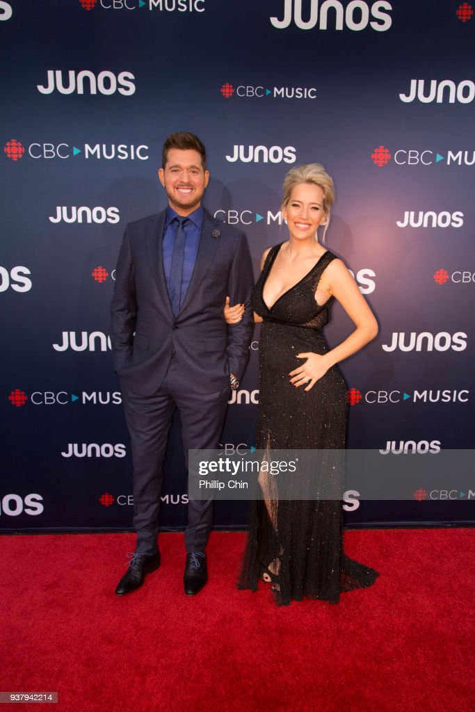 Juno Host Michael Buble and his wife Luisana Lopilato attend the red carpet at The 2018 Juno Awards at Rogers Arena on March 25, 2018 in Vancouver, Canada.