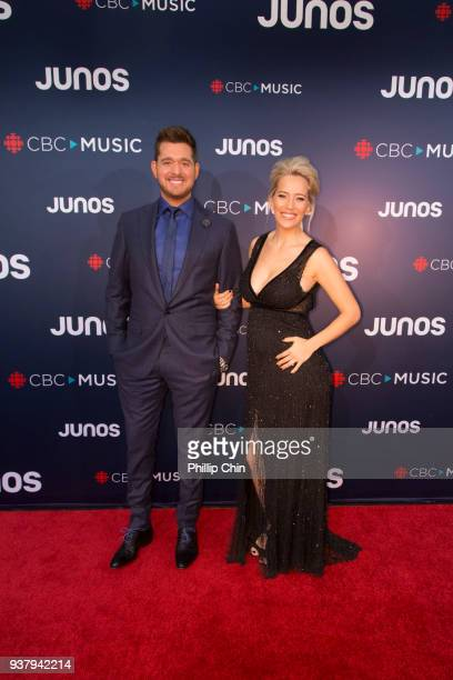 Juno Host Michael Buble and his wife Luisana Lopilato attend the red carpet at The 2018 Juno Awards at Rogers Arena on March 25 2018 in Vancouver...